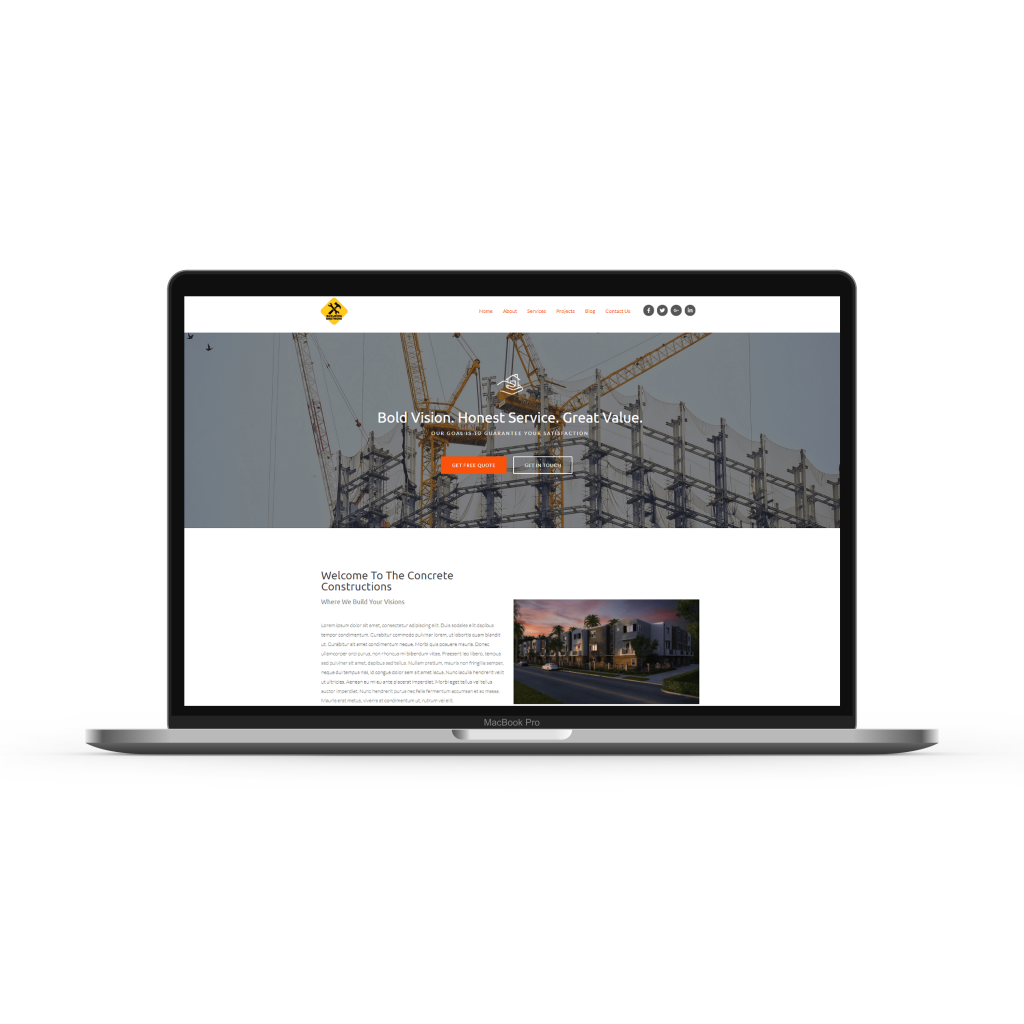 construction website mockup